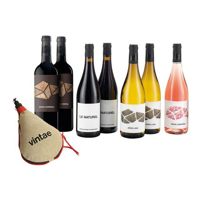 Caja Vinos Aroa y Le Naturel Navarra + Bota de vino de Regalo