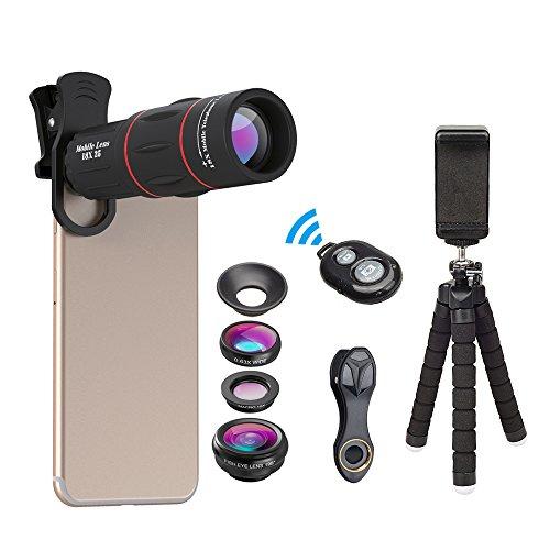 Kit de lentes para smartphone + trípode + control remoto