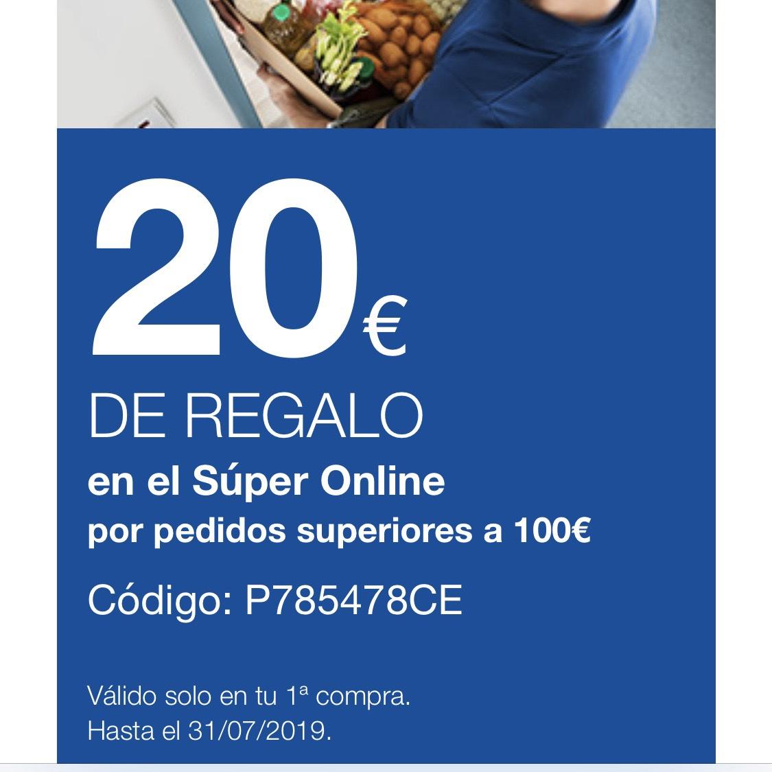 Descuento 20€ primera compra Supermercado Online Carrefour.