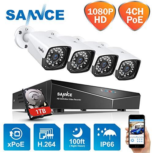 Kit de vigilancia con HDD 1TB - XPOE 1080P 4CH NVR y 4 IP Cámaras de vigilancia