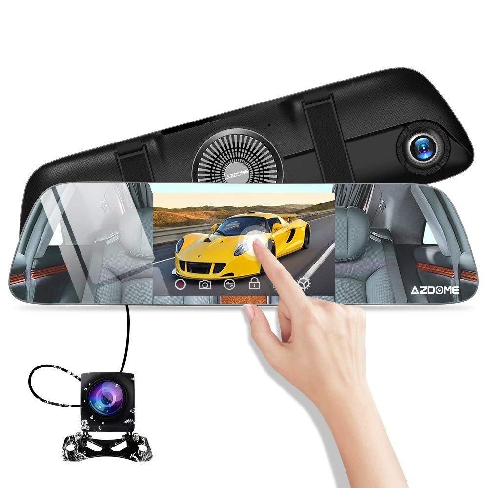 Espejo retrovisor para coche con Dashcam y pantalla táctil + cámara trasera