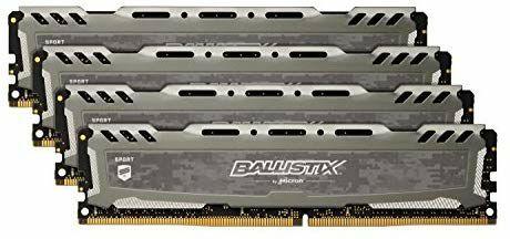 Ballistix Sport LT BLS4C8G4D26BFSB 32GB (8GB x 4) Kit de memoria (DDR4, 2666MT / s, PC4-21300, DRx8, DIMM, 288 pines) Gris