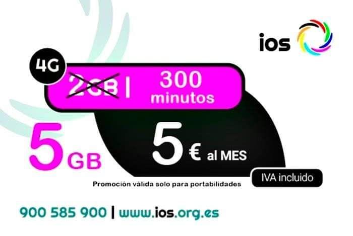 5GB + 300 minutos por 5€ en iOS
