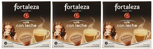 Pack 3x12 Café FORTALEZA - Cápsulas de Café Con Leche para Dolce Gusto