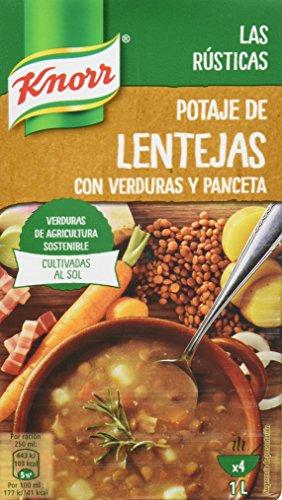 Knorr Las Rústicas Potaje de Lentejas con Verduras y Panceta - Paquete de 8 x 1 L