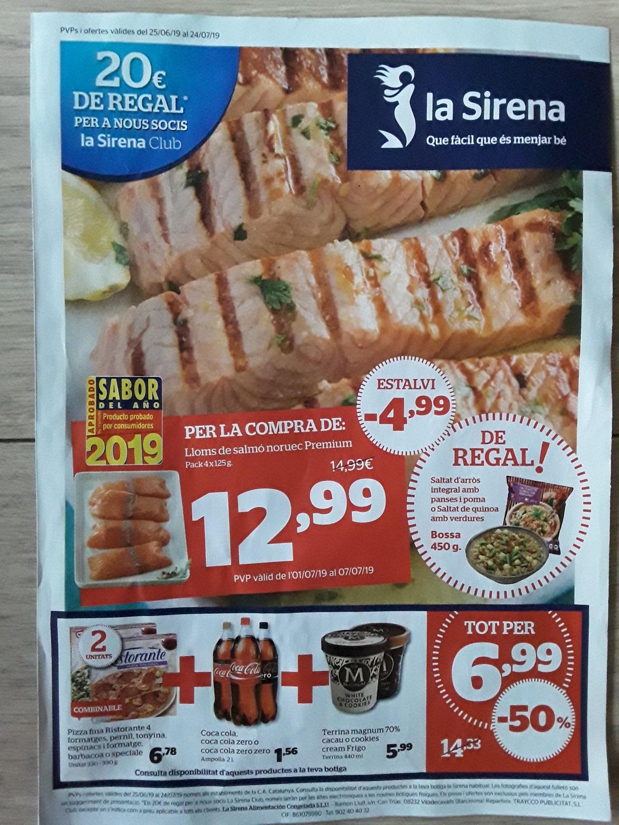 2 pizzas + 1 coca cola + 1 tarrina Magnum = 6,99€