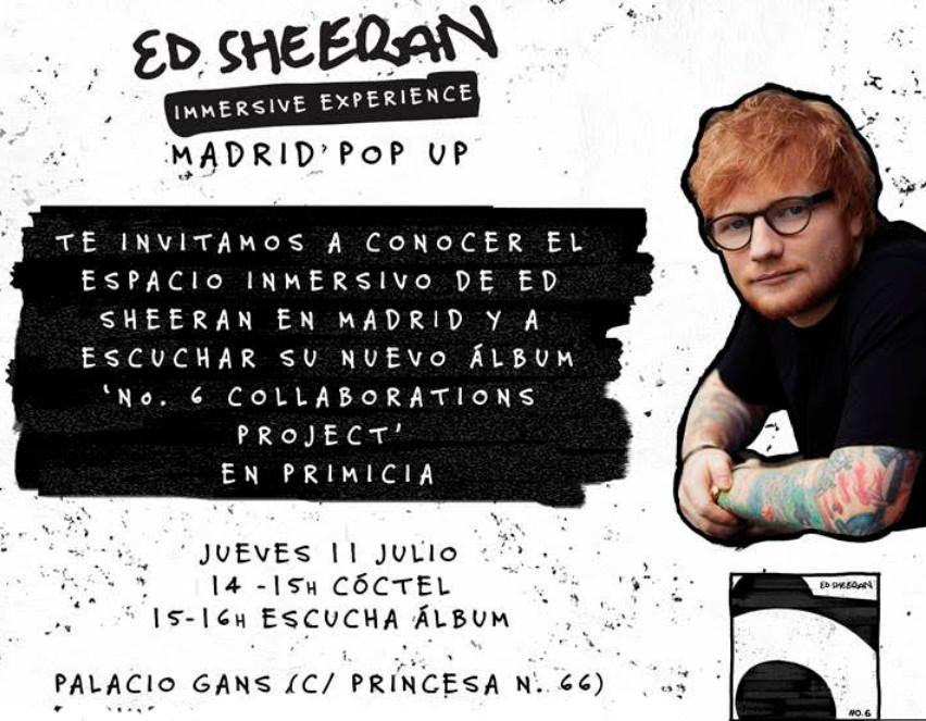 ED SHEERAN (12, 13 y 14 julio): Espacio inmersivo en Madrid (GRATIS)