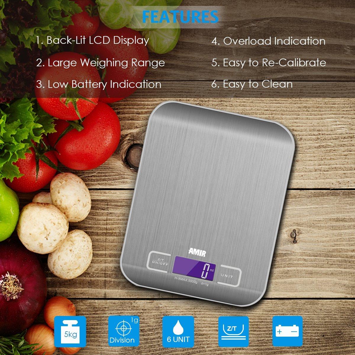 Básculas de cocina, Digital Multifuncional con 6 Unidades de Pesaje, Función de Tara