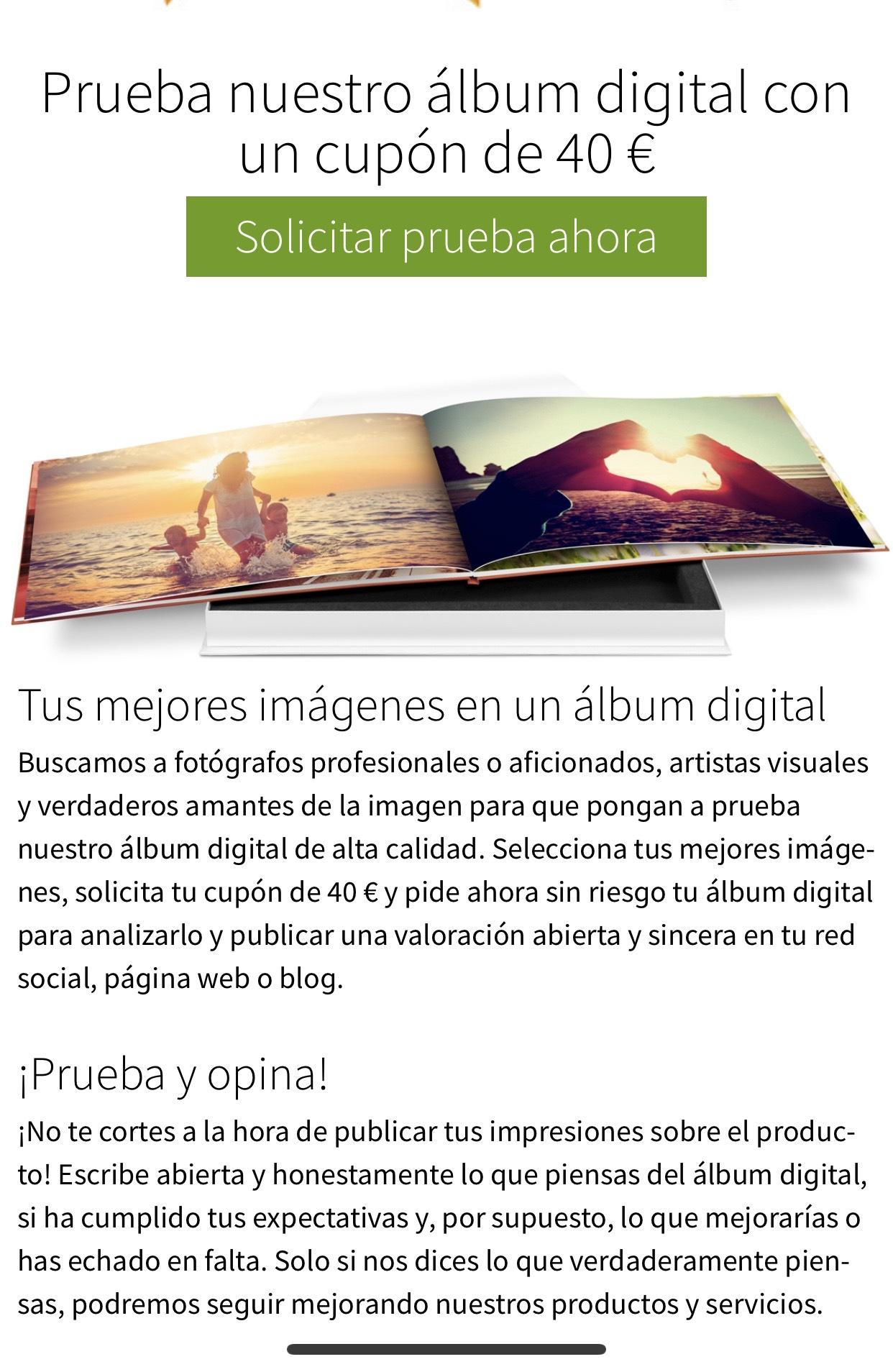 CUPÓN 40€ prueba album Saal digital
