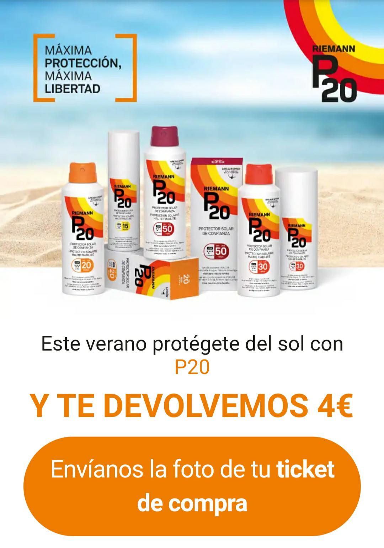 Reembolso de 4€ por la compra de cualquier protector solar P20