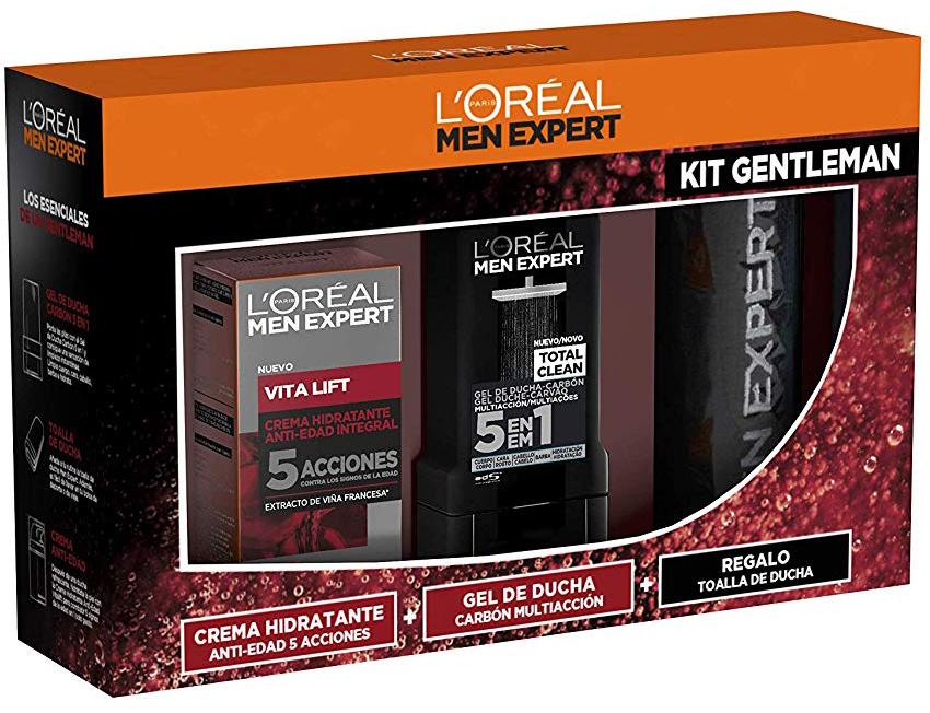 L'Oréal Men Expert Cofre Vitalift  - Crema antiedad + Gel de ducha + Toalla
