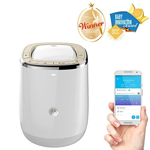 Motorola Smart Nursery Dream Machine - Vigilabebés audio Wi-Fi y proyector de luces y sonidos con control de temperatura y humedad.