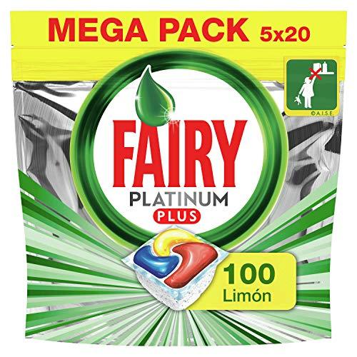 Fairy Platinum Plus Limón - Pastillas lavavajillas todo en 1, 100 cápsulas (5 x 20)