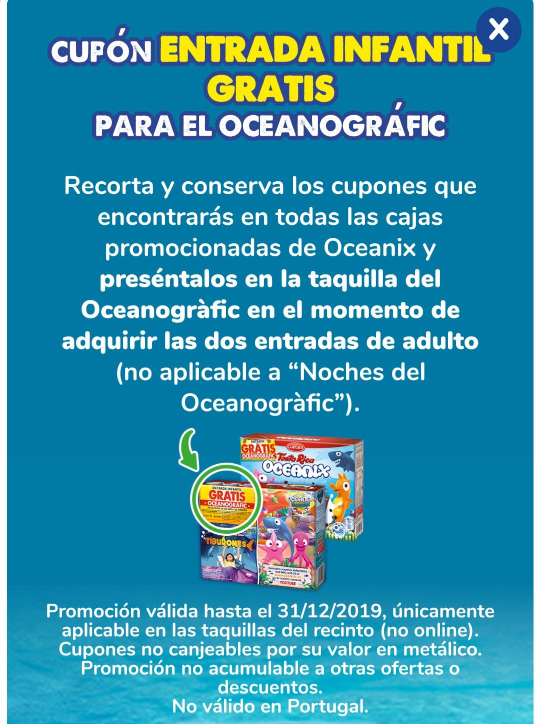 Entrada infantil gratis al oceanográfic de Valencia con tostarrica