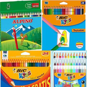 Cajas 24+ lápices colores + sacapuntas