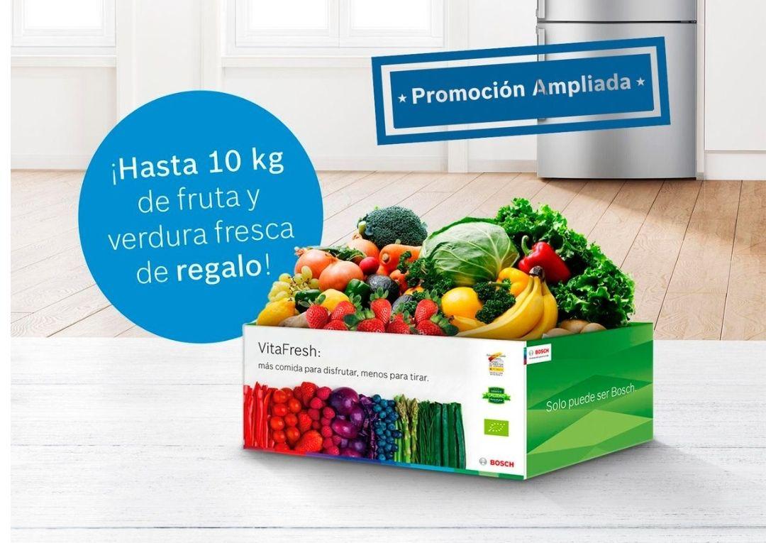 Cesta de 7 o 10 kg de fruta y verdura gratis por la compra de un frigorífico VitaFresh de Bosch