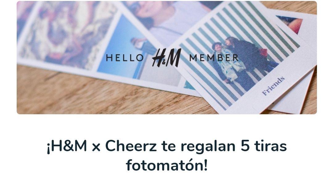 5 tiras de fotomatón gratis al ser miembro de H&M solo se paga el envío