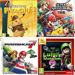 Nintendo 3DS: Detective Pikachu, Mario Kart 7, Super Smash Brosh y Luigi´s Mansion