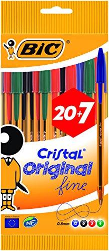 27 Bolígrafos BIC fine (naranja) de punta fina. PRIME. Variados en azul, negro, rojo y verde