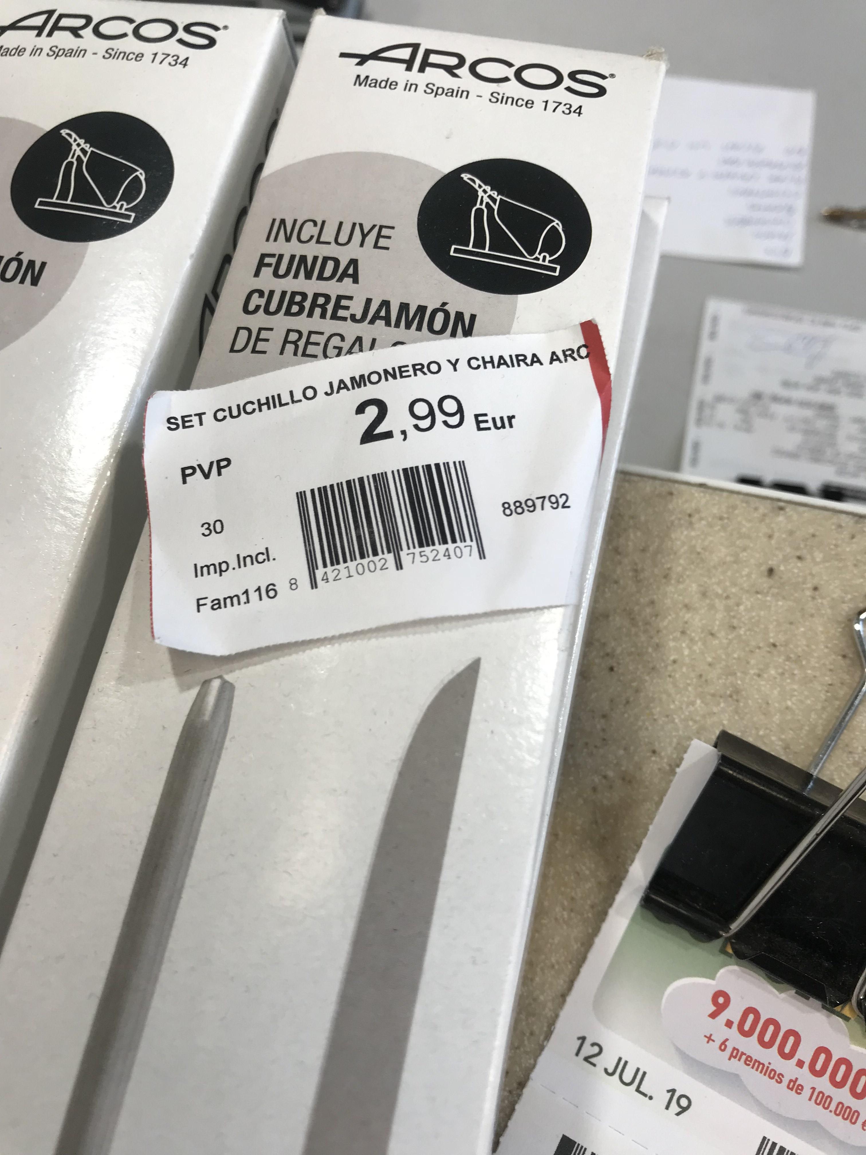 ARCOS, cuchillo jamonero, chaira y funda de jamón. En gasolineras Repsol.