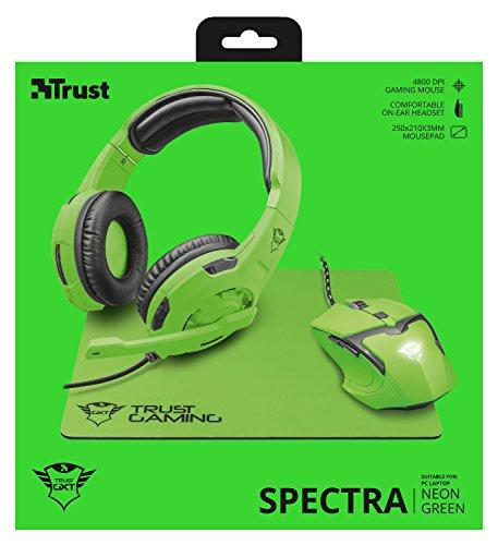 Trust Spectra - Pack Gaming 3 en 1: Auriculares, ratón y Alfombrilla, Verde