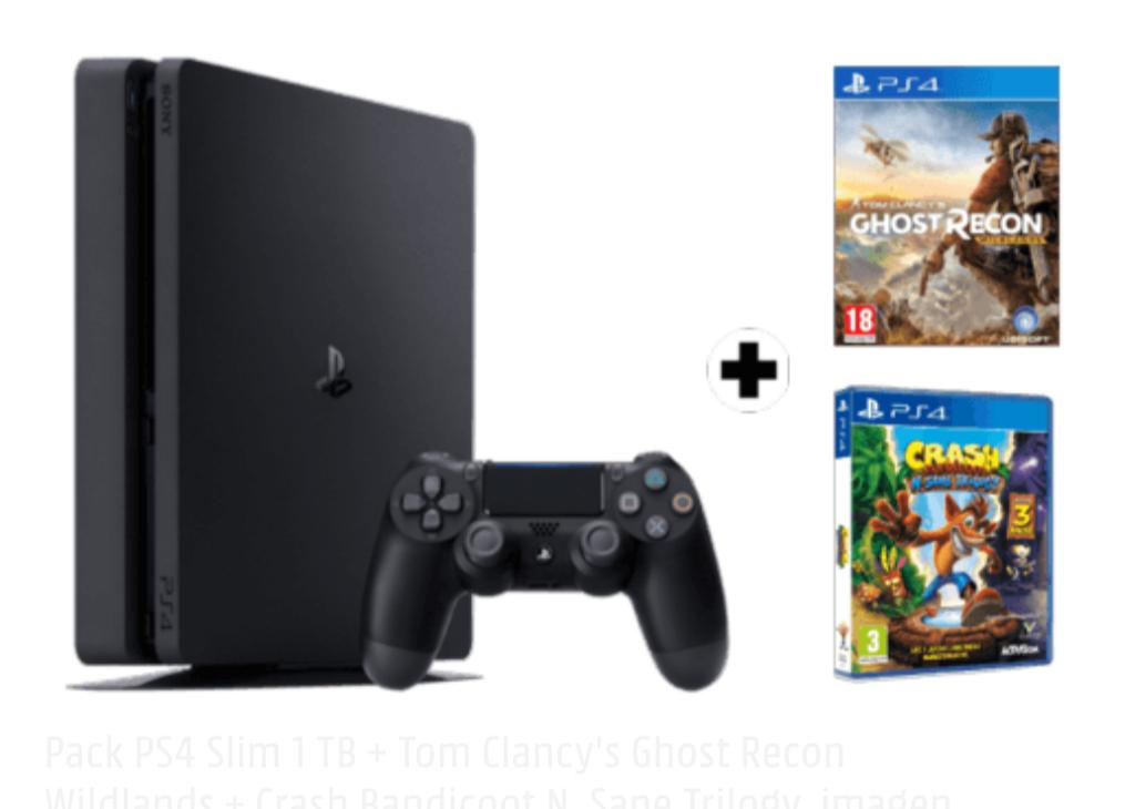 Pack PS4 Slim 1 TB + Tom Clancy's Ghost Recon Wildlands + Crash Bandicoot N. Sane Trilogy