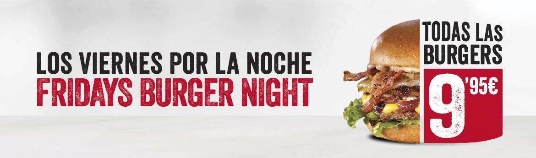 TGI Fridays, Los viernes, todas las Burgers a 9,95€