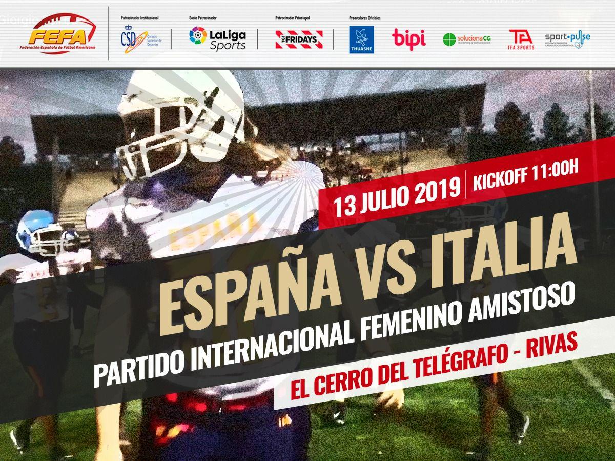 Partido selecciones femenino de Football Americano España vs Italia - GRATIS