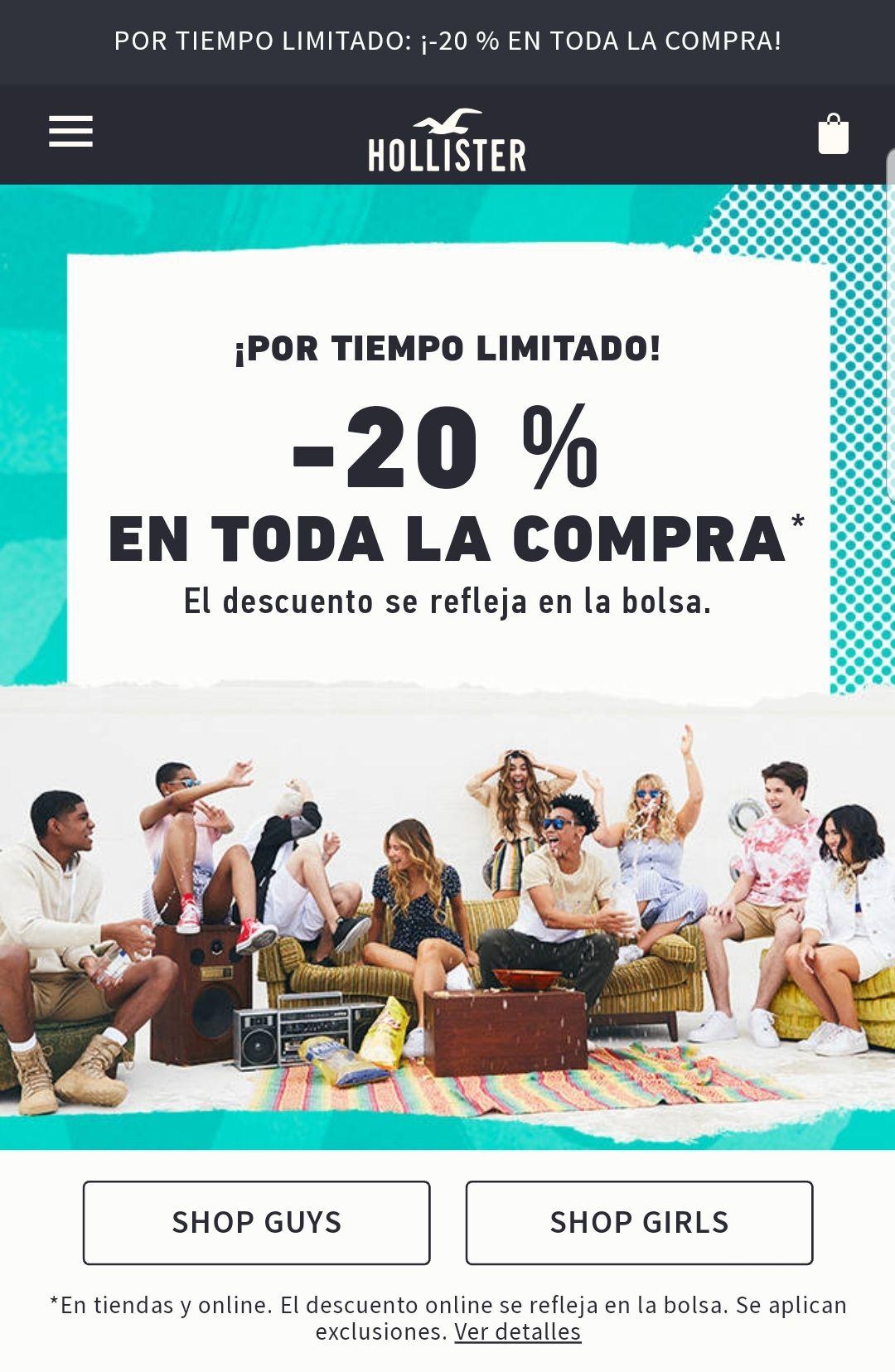 20% Dto Hollister Tienda y Online
