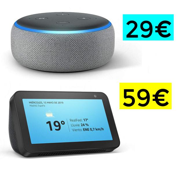 Precios mínimos en Amazon Echo (Ej: Amazon Echo Show 5 a 59€)