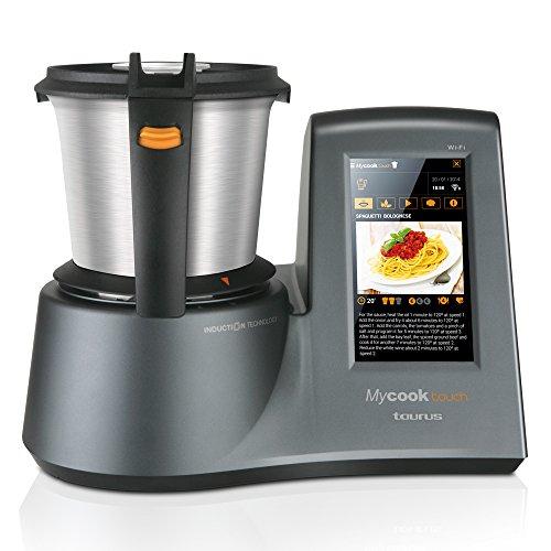 """Taurus Mycook Touch - Robot de cocina por inducción de 40 a 140º C, pantalla táctil de 7"""", 10 velocidades  1600 W, Acero Inoxidable, Gr"""