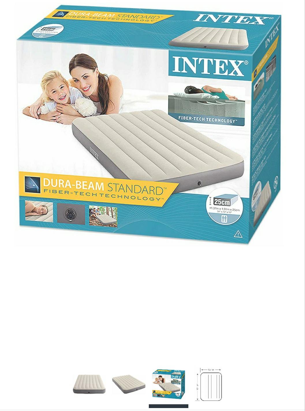 Intex 64102 - Colchón hinchable Fibertech Deluxe High, 137 x 191 x 25 cm