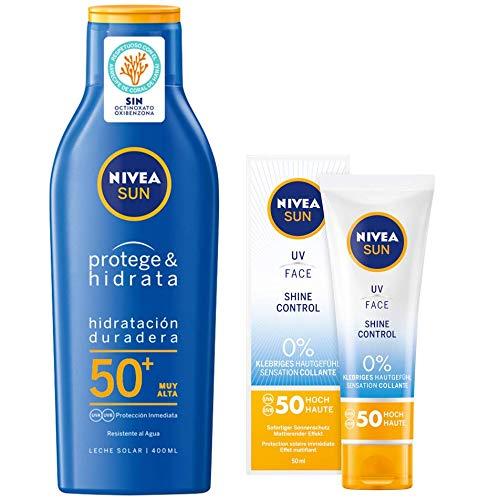 Nivea Sun Protege & Hidrata - Leche solar FP50+ 400ml + + Crema solar facial con protección solar FP50 - 50 ml