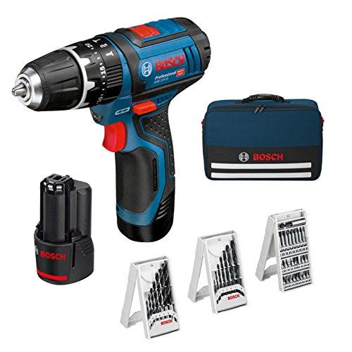 Bosch Professional GSB 12V-15 Taladro percutor + 2 baterías + 39 accesorios + maletín de lona