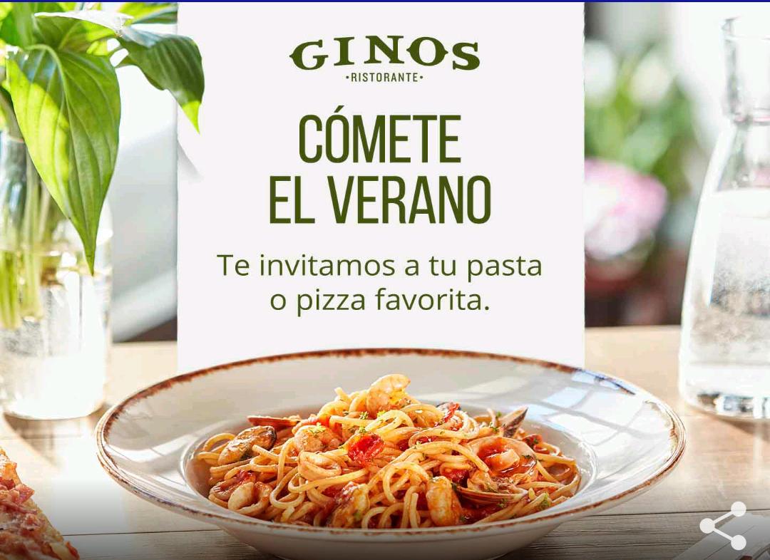 Gratis plato de pasta en Ginos al consumir 15€