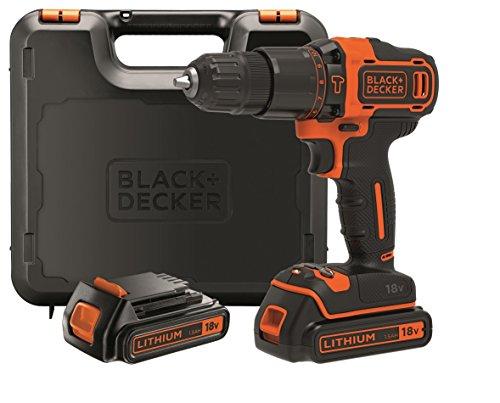 BLACK+DECKER Taladro percutor 18V, 40 Nm, con 2 baterías litio 18V (1.5Ah) y maletín