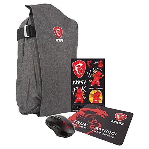 MSI - Pack de gaming (mochila, ratón DS B1, pegatinas, alfombrilla)