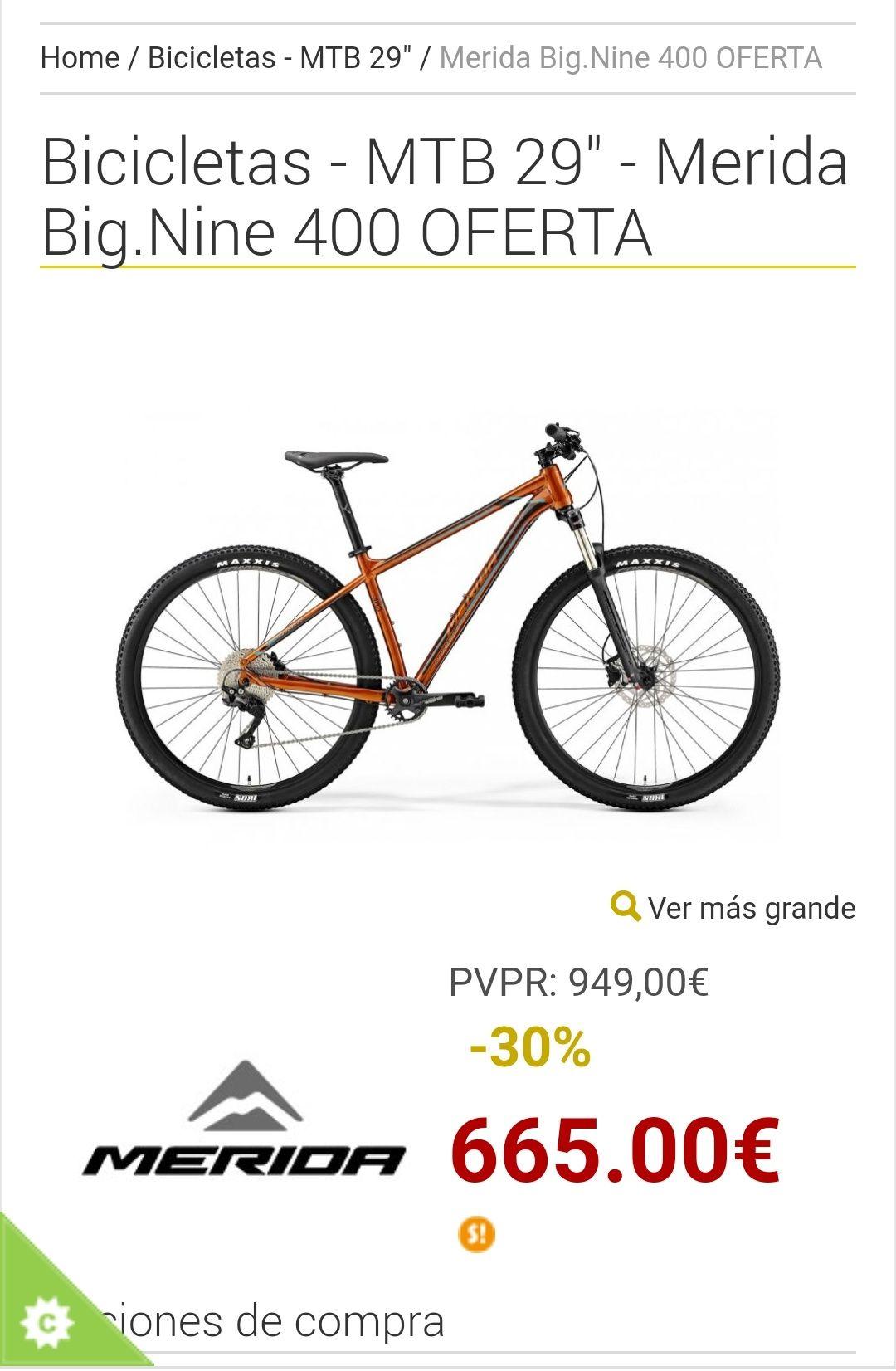 Bicicletas - MTB 29 -MeridaBig.Nine 400