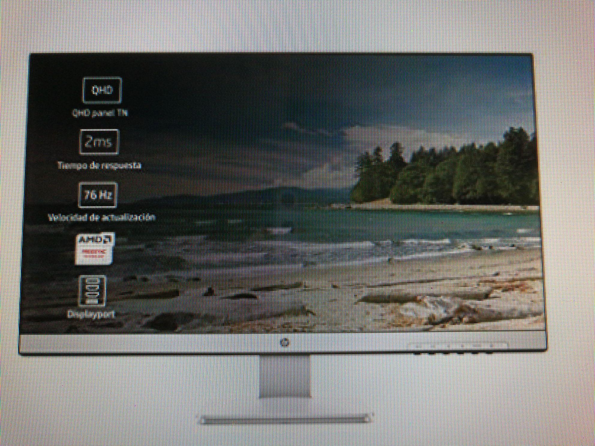 Monitor Hp de 27 pulgadas QHD, resolución 2560 x 1440,tiempo de respuesta 2 ms