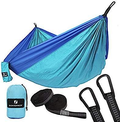 SONGMICS Hamaca Ultra Ligera para Viaje y Camping, Nylon Transpirable, 275 x 140 cm, 2 x Mosquetones Premium, 2 x Correas de Nylon Incluidas