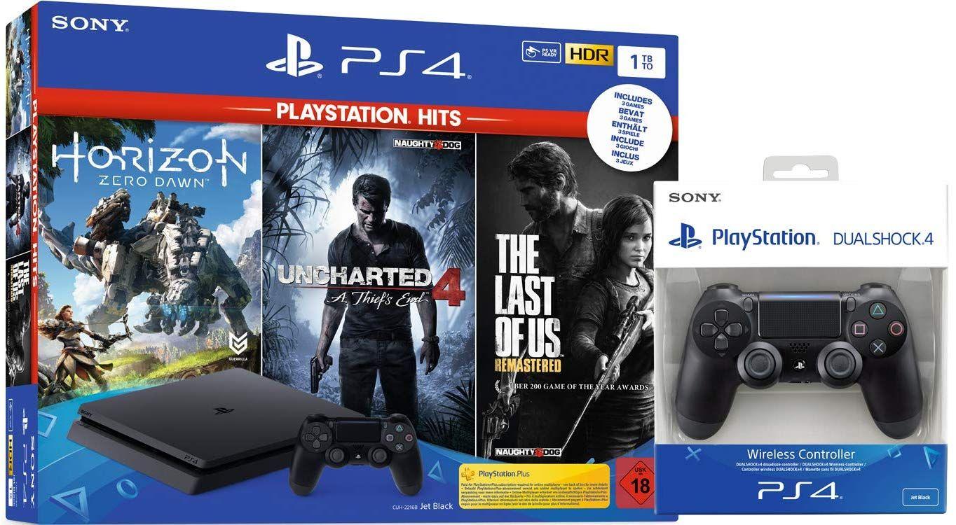 PS4 Slim 1TB + 2x DualShock 4 + Uncharted 4 + The Last of Us + Horizon Zero Dawn