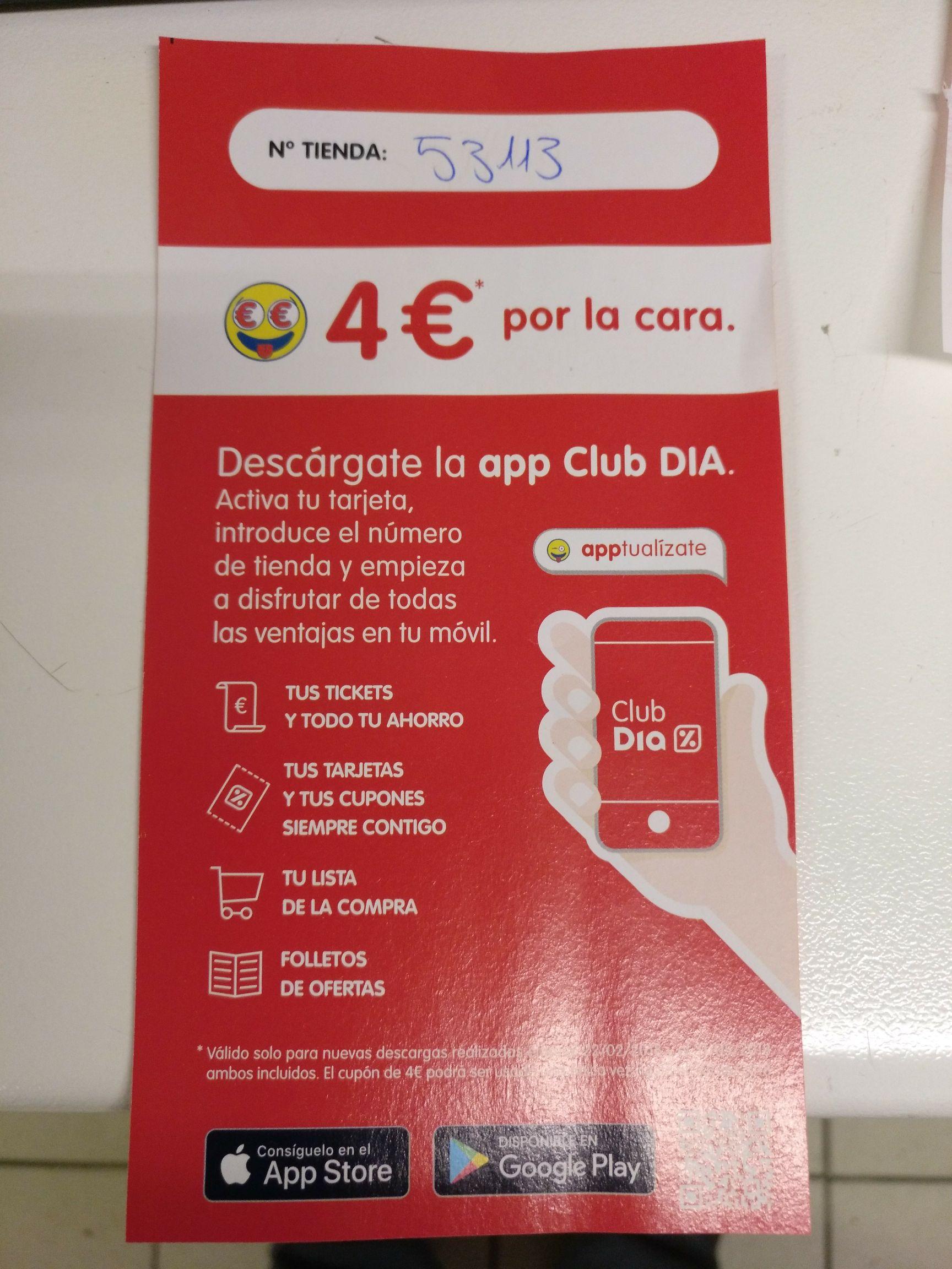 4€ de descuento por 15 de compra