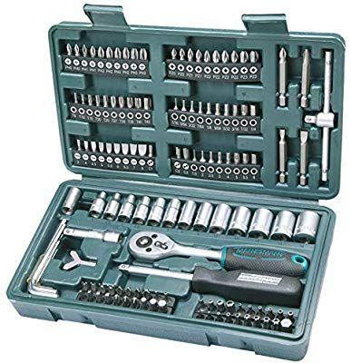 Maletín con juego de llaves de vaso y puntas de destornillador (130 piezas)