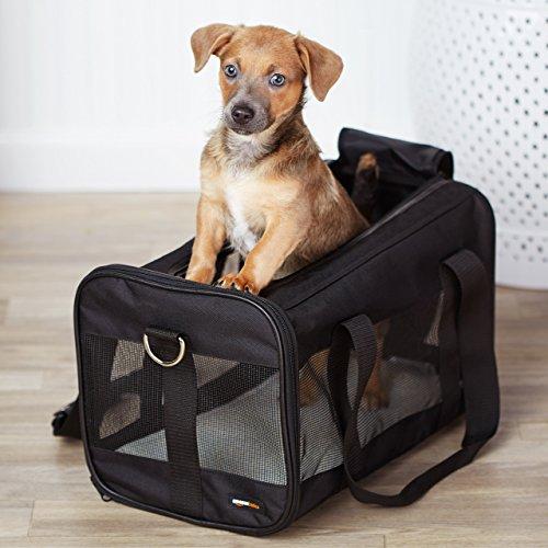 Trasportín mascotas negro con laterales flexibles - Mediano