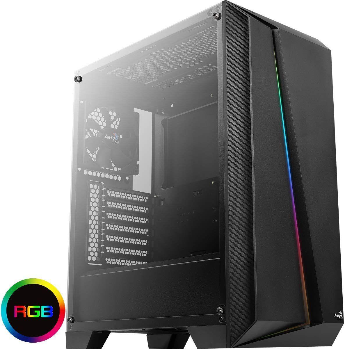 Aerocool CYLON PRO - Caja PC ATX, cristal templado, RGB 13 modos, ventilador 12cm