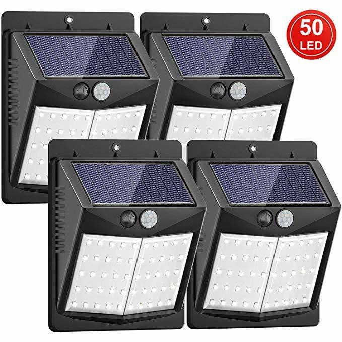 [Mejoradas 50 LED] Luz Solar de Exterior, SEZAC Sensor de movimiento a prueba de agua (paquete de 4)