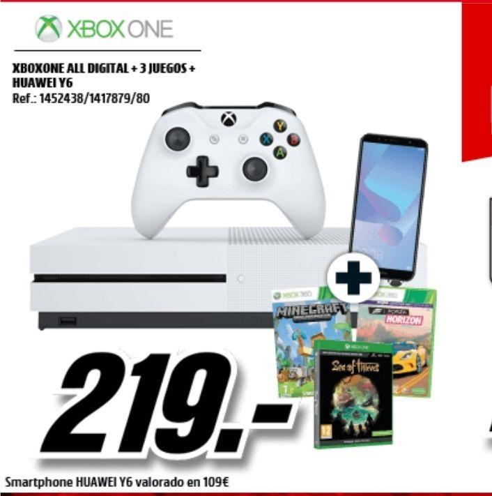 Xbox one s digital + 3 juegos + huawei y6