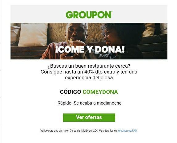 Groupon.......DESCUENTO DE UN 40%