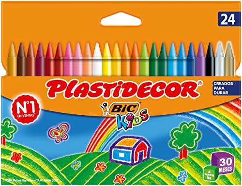 BIC Kids Plastidecor - Blíster de 24 unidades, ceras para colorear