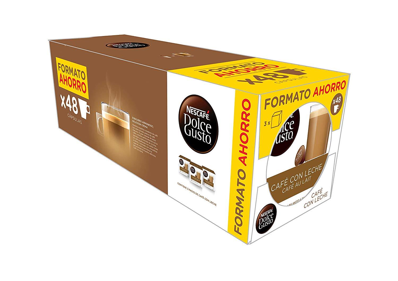 NESCAFÉ Dolce Gusto Café con Leche   Pack de 3x16 cápsulas de café - Total: 48 Cápsulas de Café